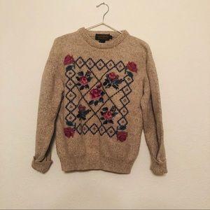 Eddie Bauer Vintage -Style Wool Sweater Floral